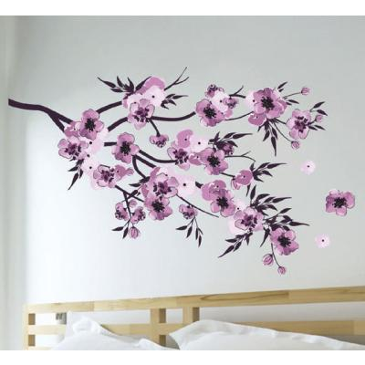 sticker mural fleurs aquarelle violettes 2 planches 50 x 70 cm 20 stickers stickers. Black Bedroom Furniture Sets. Home Design Ideas