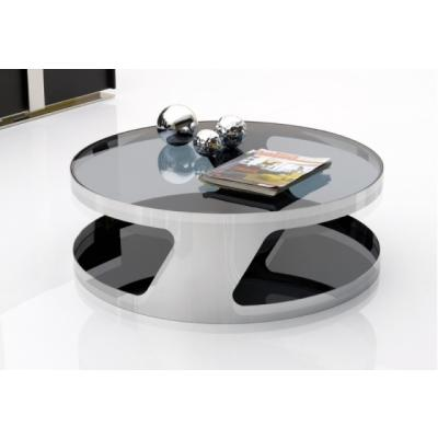 table basse ronde verre fum et m tal tables basses en verre meubles de salon s lection. Black Bedroom Furniture Sets. Home Design Ideas