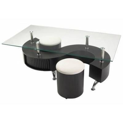 Tables basses en verre meubles de salon s lection - Table basse avec tabourets integres ...